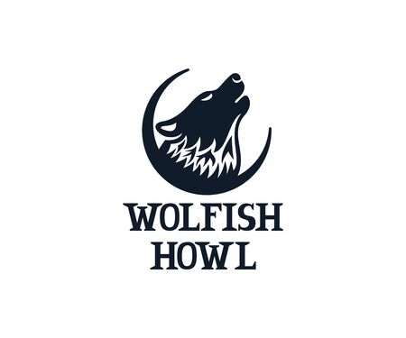 Wolf howls on sky, logo design. Animal, beast and wildlife, vector design and illustration Ilustracja
