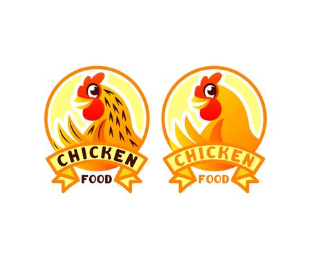 Chicken cartoon character in circle, illustration and logo design. Bird, food, poultry farm and poultry yard, vector design Ilustracja