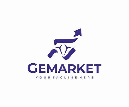 Diamond market logo design. Gemstone and graph arrow vector design. Gem investment logotype  イラスト・ベクター素材