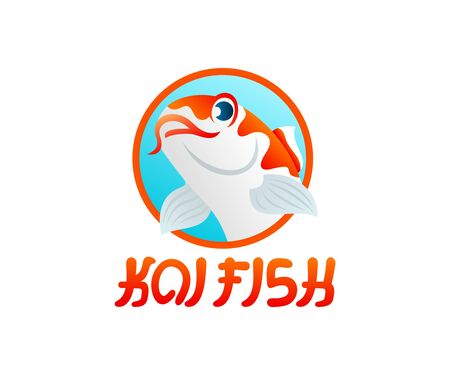 Koi fish or carp fish cartoon character, illustration and logo design. Japan culture, aquarium and underwater life, vector design Ilustracja