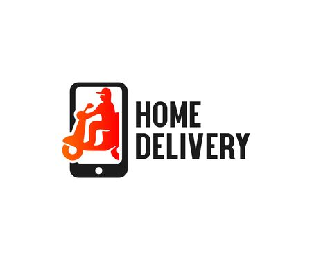 Home delivery, shipping on scooter in smartphone, logo design. Transport, food and online shopping, vector design and illustration Illustration