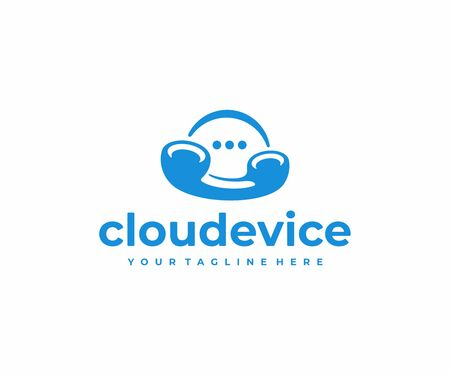 Cloud calling technology logo design. Cloud communication vector design. Phone handset and speech bubble logotype