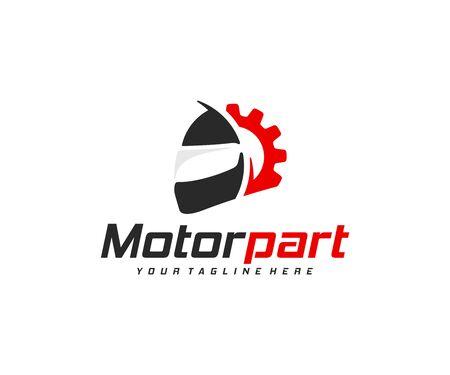 Motorcycle parts logo design. Motorbike repair vector design. Motorcycle helmet and gear wheel logotype