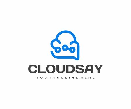 Technology advisor logo design. Cloud technology support vector design. Cloud and speech bubble logotype Ilustracja