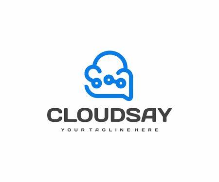 Technology advisor logo design. Cloud technology support vector design. Cloud and speech bubble logotype Illusztráció
