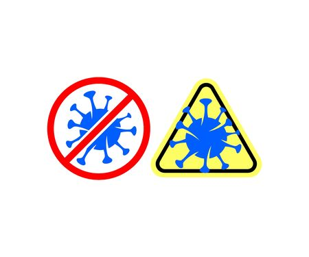 Caution virus, coronavirus infection or COVID-19, prohibition signs and warning signs, logo design. Healthcare, health, medicine and science, vector design and illustration