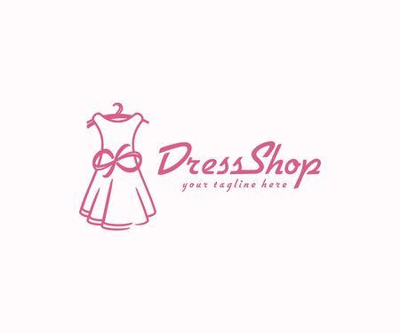 Dress with bow logo design. Fashion boutique shop vector design. Women clothes logotype Illustration