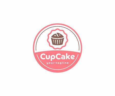 Cupcake circle emblem logo design. Muffins with berries vector design. Sweet bakery logotype