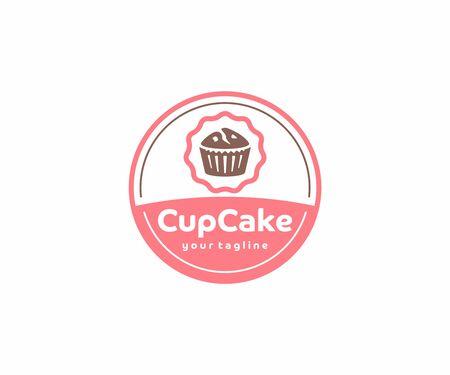 Cupcake circle emblem logo design. Muffins with berries vector design. Sweet bakery logotype