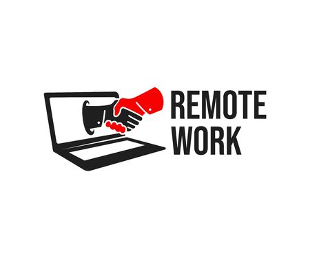 Remote work, video chat and online conference, logo design. Innovation technology, online business and computer technology, vector design and illustration