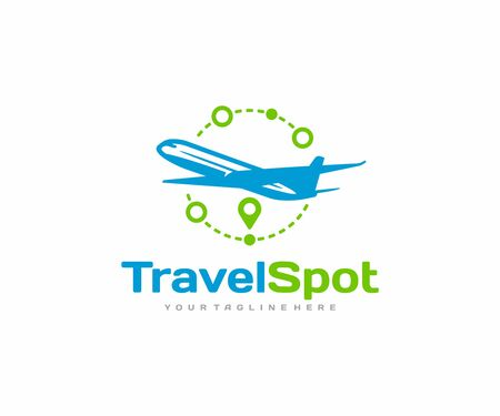 Travel vacation logo design. Airplane and destination route pin vector design. Trip around the world logotype