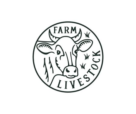 Head cow, livestock farm and cattle breeding, logo design. Animal, stock raising, meat dairy farm and food, vector design and illustration