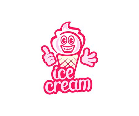 Ice cream cartoon character smiling and waving,  design. Food, sweet food and meal, vector design and illustration