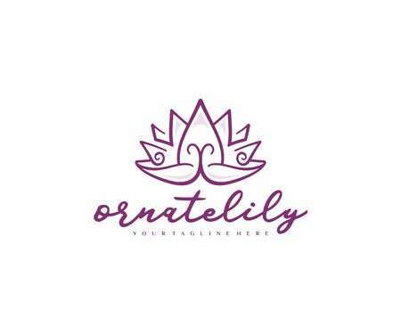 Ornamental lotus flower logo design. Thai massage and spa salon vector design. Ethnic waterlily logotype Ilustracja