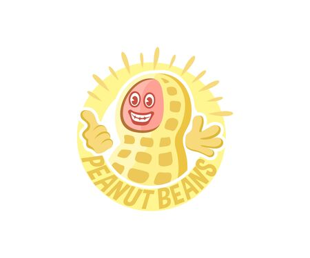 Peanuts bean cartoon character, logo design. Food and nutrition, plant, vector design and illustration  イラスト・ベクター素材