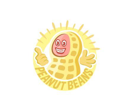 Peanuts bean cartoon character, logo design. Food and nutrition, plant, vector design and illustration Illustration