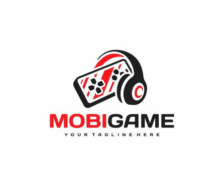 Mobile gaming logo design. Smartphone with headphones vector design. Mobile phone video games logotype