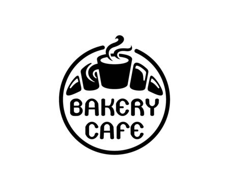 Bakery cafe, bakehouse logo design or label. Home baking, sweet food and bake, vector design and illustration Illustration