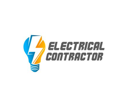 Electrical contractor, light bulb and lightning, logo design. Electric light, construction, electric current and electricity, vector design and illustration