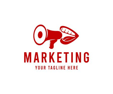 Mouth screaming in bullhorn, marketing, logo design. Human mouth and lips talking or shouting in loudspeaker, vector design and illustration