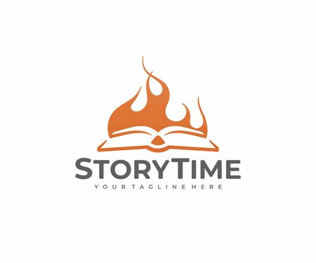 Book story  design. Storytelling vector design. Open book and bonfire  イラスト・ベクター素材