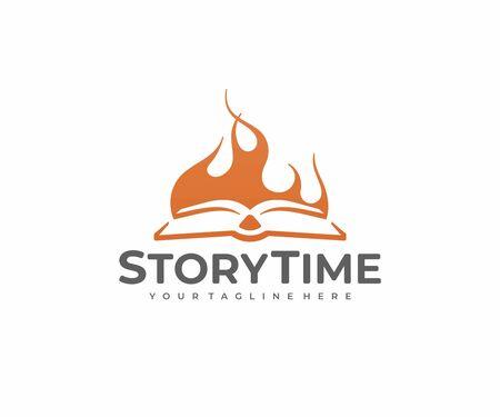 Book story  design. Storytelling vector design. Open book and bonfire Illustration