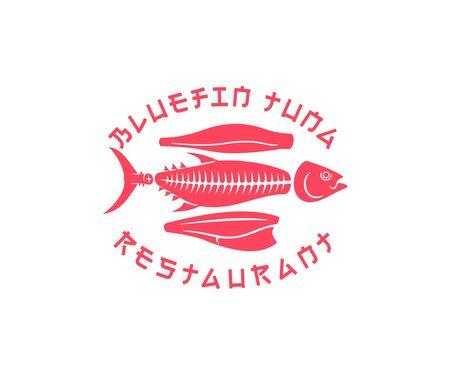 Bluefin tuna scheme cutting on the kitchen in Japanese sushi restaurant, illustration. Seafood, food, fish market and marine life, vector design and logo design Illustration