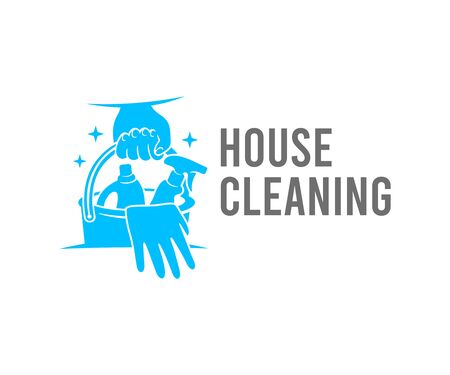 Cleaning, hand holds a bucket of cleaners and detergents,  design. Sanitizing, disinfecting, hygiene and cleanliness, vector design and illustration Ilustracja