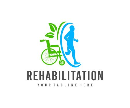 Injury rehabilitation, wheelchair and healthy person, logo design. Medical, healthcare and traumatology, vector design and illustration Иллюстрация