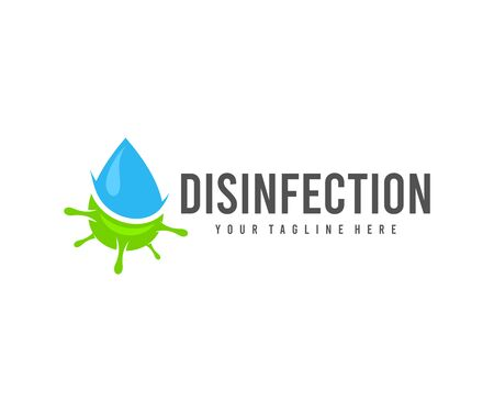 Disinfection, drop water and virus, design. Hygiene, cleanliness and health, vector design and illustration Ilustracja
