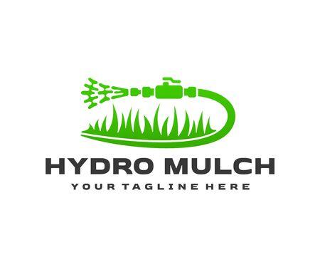 Hydro mulch, hydromulching work, hose and grass, logo design. Landscape design, lawn, landscaping and revegetation, vector design and illustration Illustration