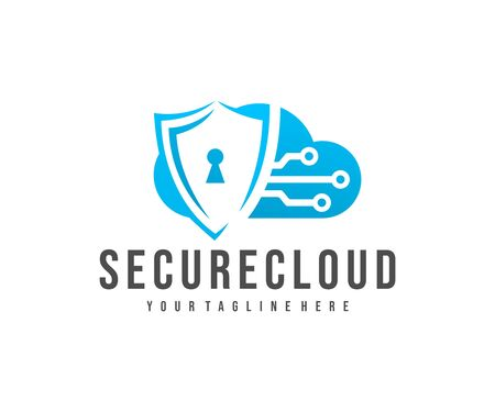 Secure cloud storage, cloud, shield and circuit, logo design. Cloud computing, digital service, data transferring, datacenter and connection network, vector design and illustration