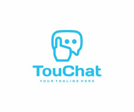 Touch screen message logo design. Online communication vector design. Speech bubble and touching hand logotype
