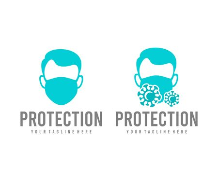Man in protective medical mask and virus, logo design. Healthcare, health, medicine and medical, vector design and illustration