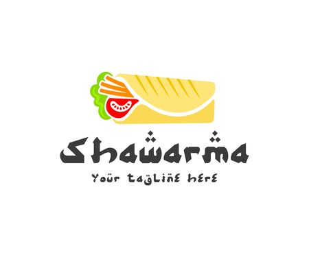 Shawarma sandwich, gyro and doner kebab, logo design. Roll of lavash with meat and vegetables, fast food, food and meal, vector design and illustration Ilustracja