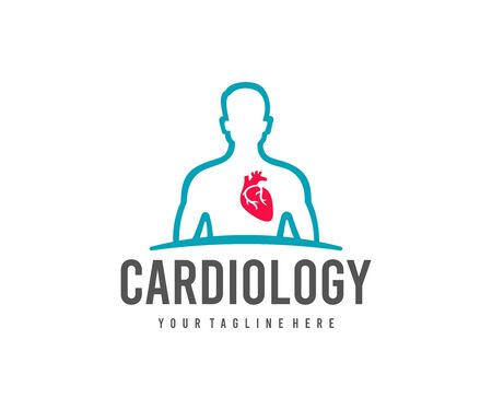 Cardiology, man with a heart, logo design. Medical, medicine and healthcare, vector design and illustration