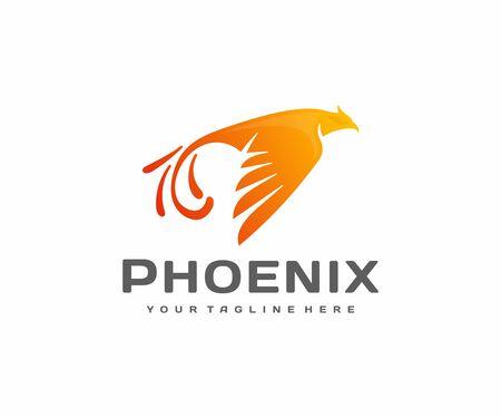 Phoenix bird logo design. Flying fire bird vector design. Burning fiery bird logotype