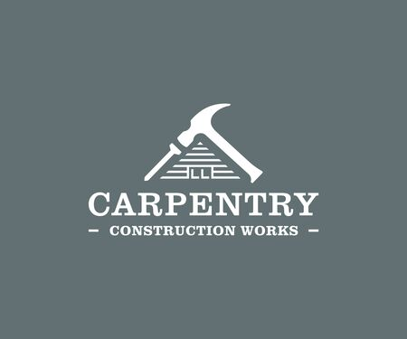 Home building logo design. Carpentry services vector design. Wooden house with hammer and nail logotype