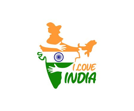 I love India, hands hug country India, logo design. Tourism, travel, leisure and journey, vector design and illustration Ilustração