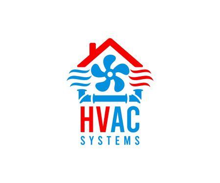 Chauffage, ventilation et climatisation, systèmes cvc, création de logo. Construction, réparation et installation de climatiseurs et de systèmes de ventilation, conception et illustration vectorielles