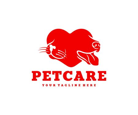 Pet care, cat and dog in heart, logo design. Pet, animal, veterinary and pet center, vector design and illustration