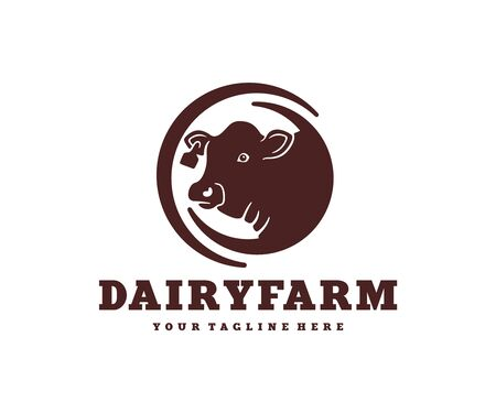 Head of a cow in a circle, livestock farm and cattle breeding, logo design. Animal, stock raising, meat dairy farm and food, vector design and illustration