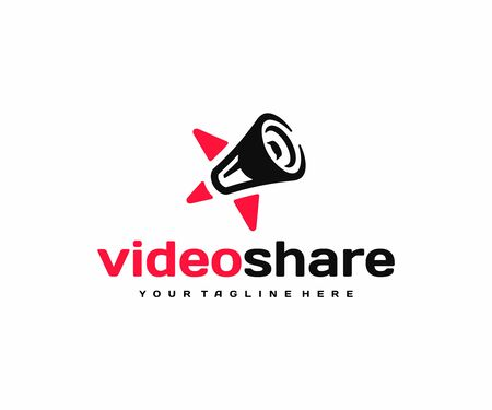 Video shoutouts  design. Star and loudspeaker vector design. Communication with favorite people logotype Иллюстрация