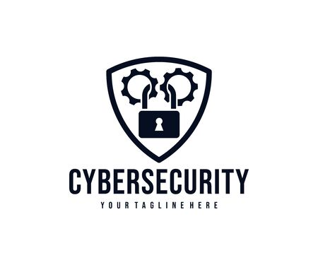 Cybersecurity, gears and lock in the shield  design. Security, network protection and personal data protection, vector design and illustration Ilustracja