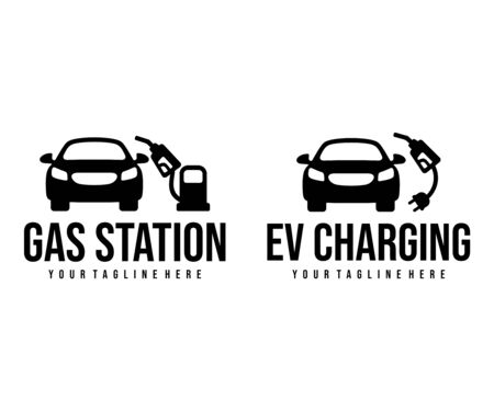 Gas station and EV charging stations for car design. Transport, vehicle, fuel and energy, vector design and illustration