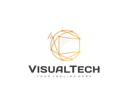 Audio visual system  design. Screen and circuit network vector design. Video technology logotype