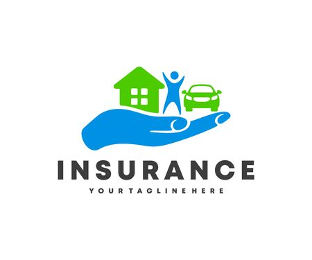 Insurance, in the palm of hand holds a person, a car and a house,   design. Financial and health insurance, vector design and illustration