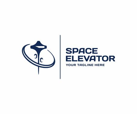 Space elevator design. Non-rocket space launch vector design. Cosmos and space lift logotype Illustration