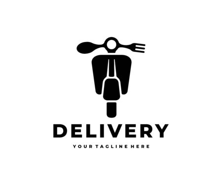 Delivery food, scooter motorcycle with fork and spoon design. Transport, restaurant, meal and catering, vector design and illustration