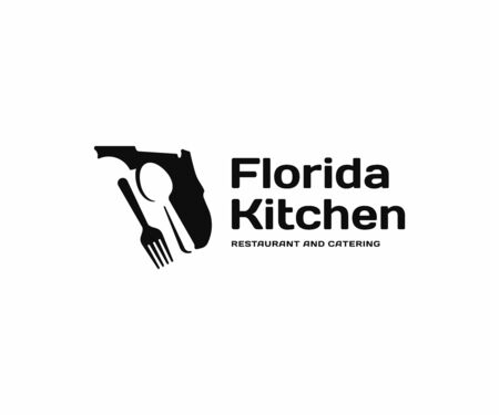 Florida kitchen and cutlery  design. Restaurant and catering vector design. Florida state with spoon and fork logotype Standard-Bild - 149047390